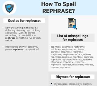 rephrase, spellcheck rephrase, how to spell rephrase, how do you spell rephrase, correct spelling for rephrase