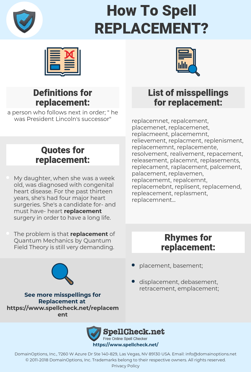 replacement, spellcheck replacement, how to spell replacement, how do you spell replacement, correct spelling for replacement