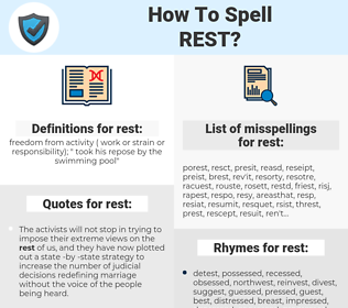 rest, spellcheck rest, how to spell rest, how do you spell rest, correct spelling for rest