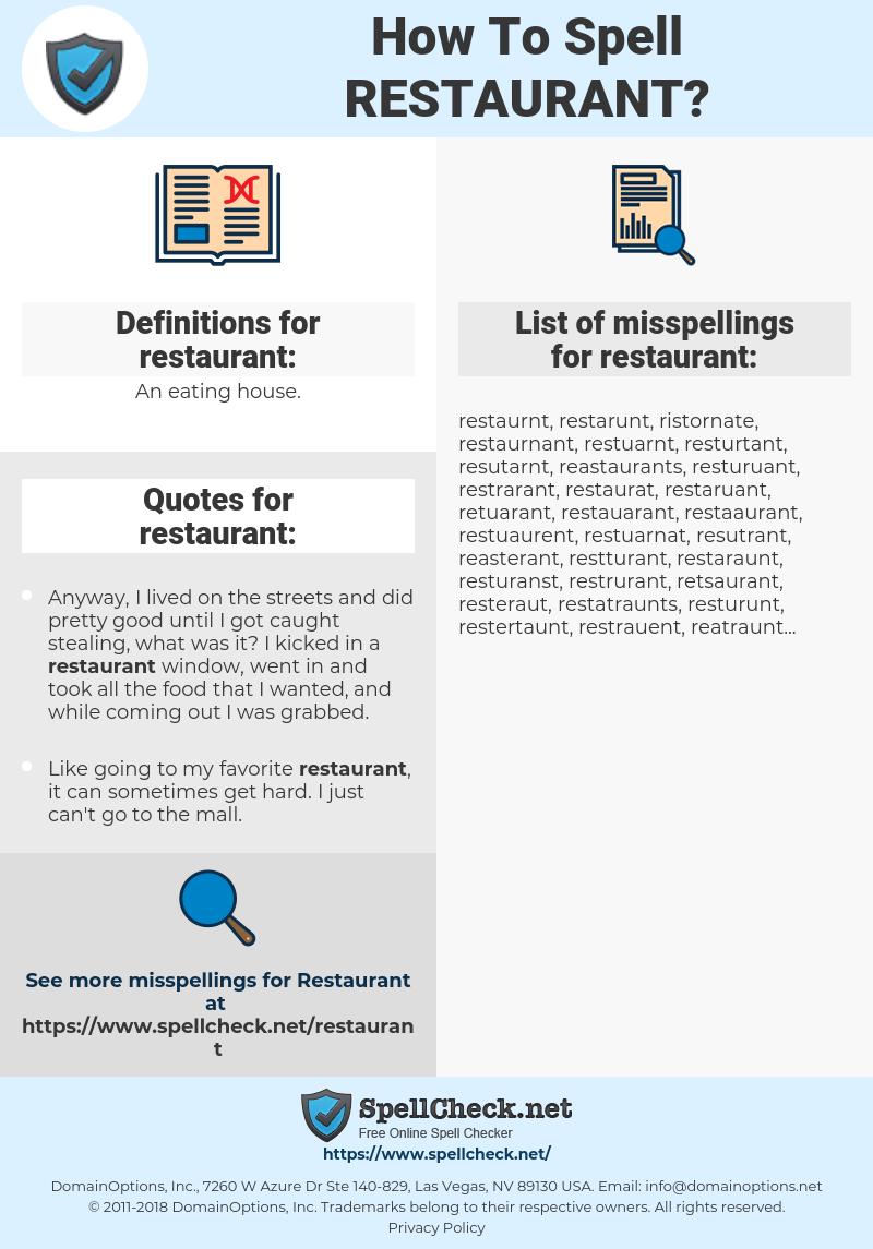 restaurant, spellcheck restaurant, how to spell restaurant, how do you spell restaurant, correct spelling for restaurant
