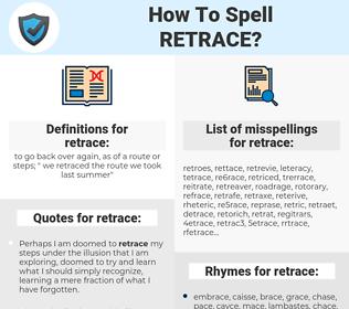 retrace, spellcheck retrace, how to spell retrace, how do you spell retrace, correct spelling for retrace