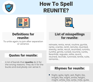 reunite, spellcheck reunite, how to spell reunite, how do you spell reunite, correct spelling for reunite