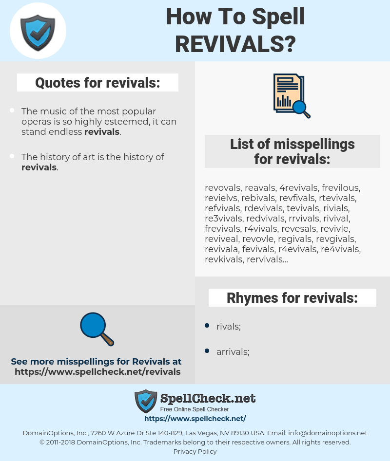 revivals, spellcheck revivals, how to spell revivals, how do you spell revivals, correct spelling for revivals