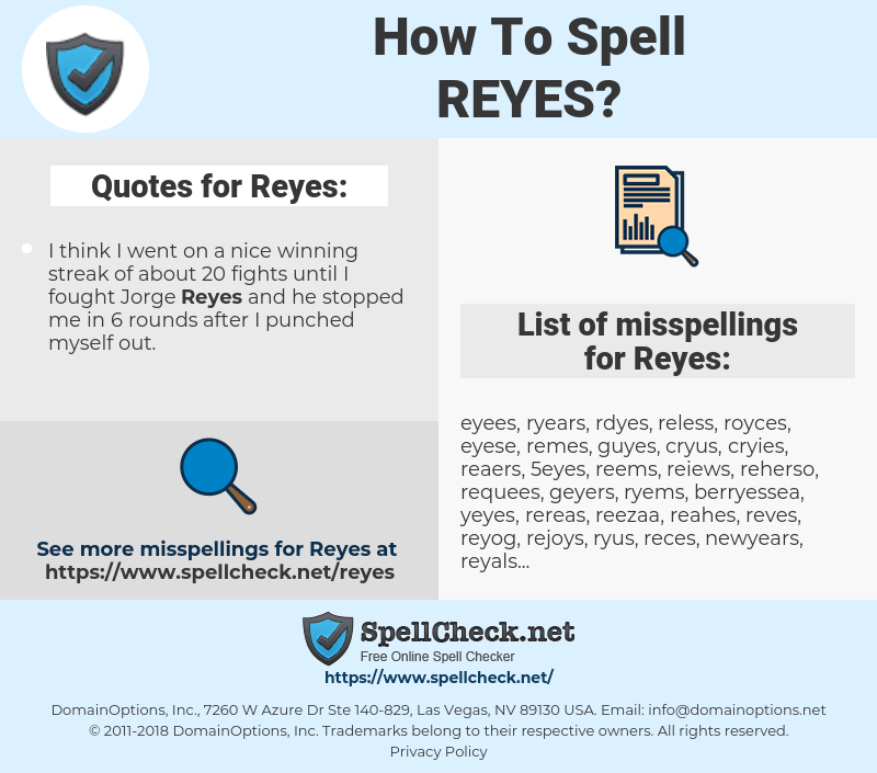 Reyes, spellcheck Reyes, how to spell Reyes, how do you spell Reyes, correct spelling for Reyes