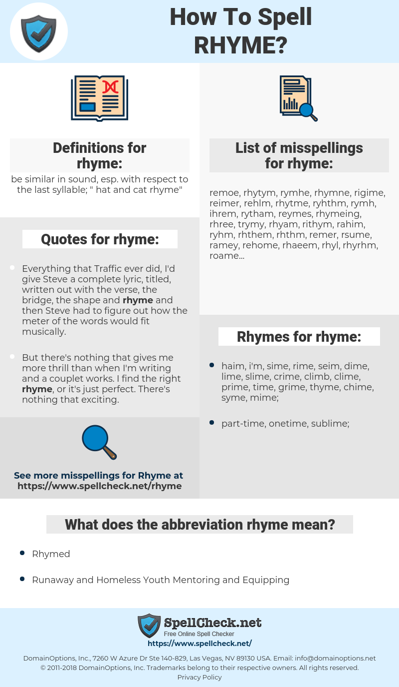 rhyme, spellcheck rhyme, how to spell rhyme, how do you spell rhyme, correct spelling for rhyme
