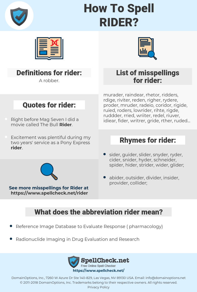 rider, spellcheck rider, how to spell rider, how do you spell rider, correct spelling for rider