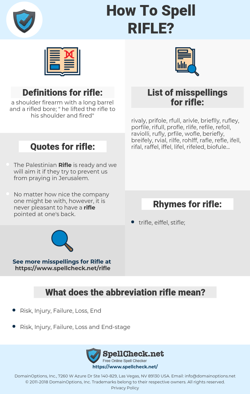 rifle, spellcheck rifle, how to spell rifle, how do you spell rifle, correct spelling for rifle