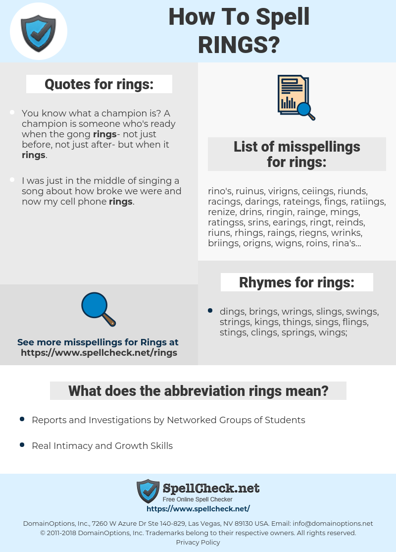 rings, spellcheck rings, how to spell rings, how do you spell rings, correct spelling for rings