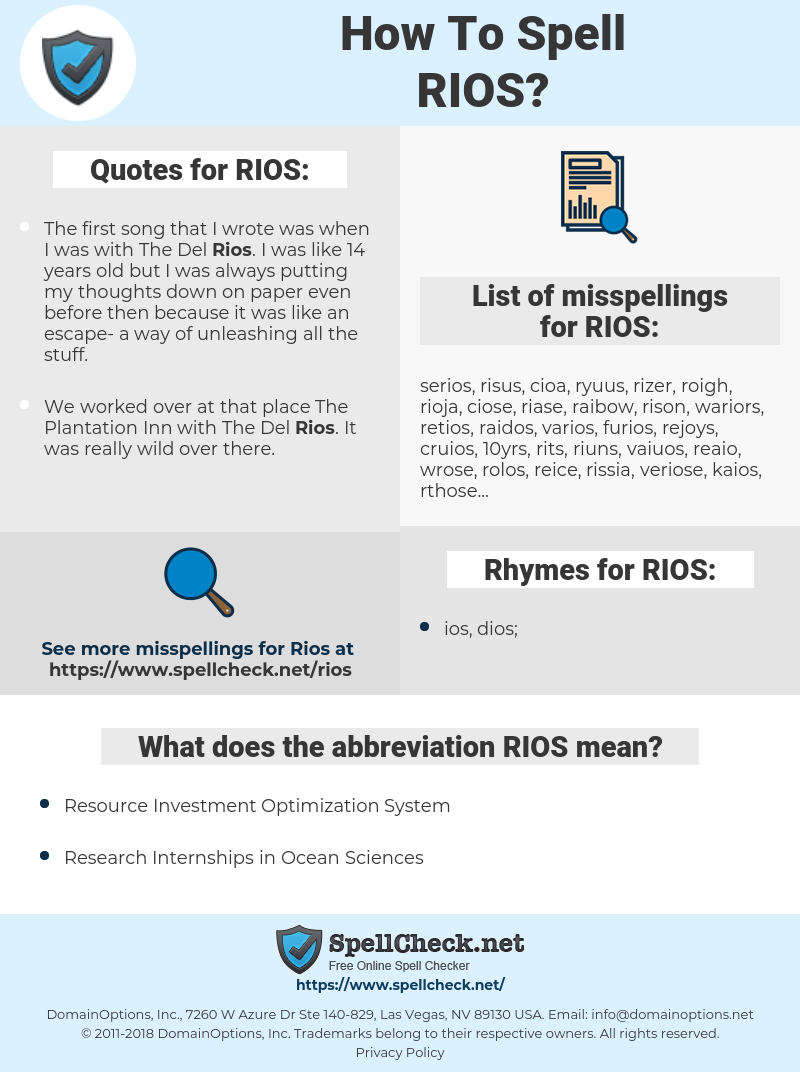 RIOS, spellcheck RIOS, how to spell RIOS, how do you spell RIOS, correct spelling for RIOS