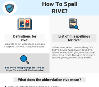 rive, spellcheck rive, how to spell rive, how do you spell rive, correct spelling for rive