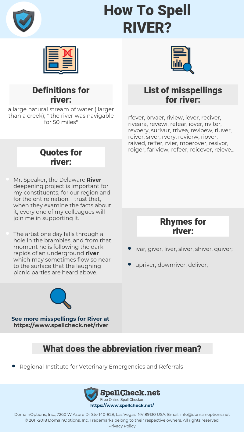 river, spellcheck river, how to spell river, how do you spell river, correct spelling for river