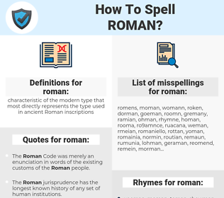 roman, spellcheck roman, how to spell roman, how do you spell roman, correct spelling for roman