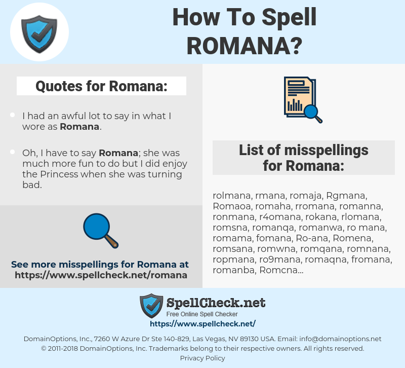 How To Spell Romana And How To Misspell It Too Spellcheck Net