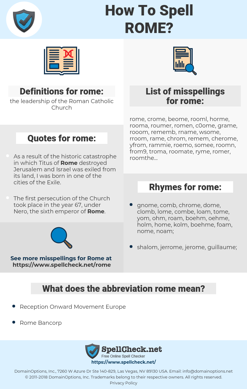 rome, spellcheck rome, how to spell rome, how do you spell rome, correct spelling for rome
