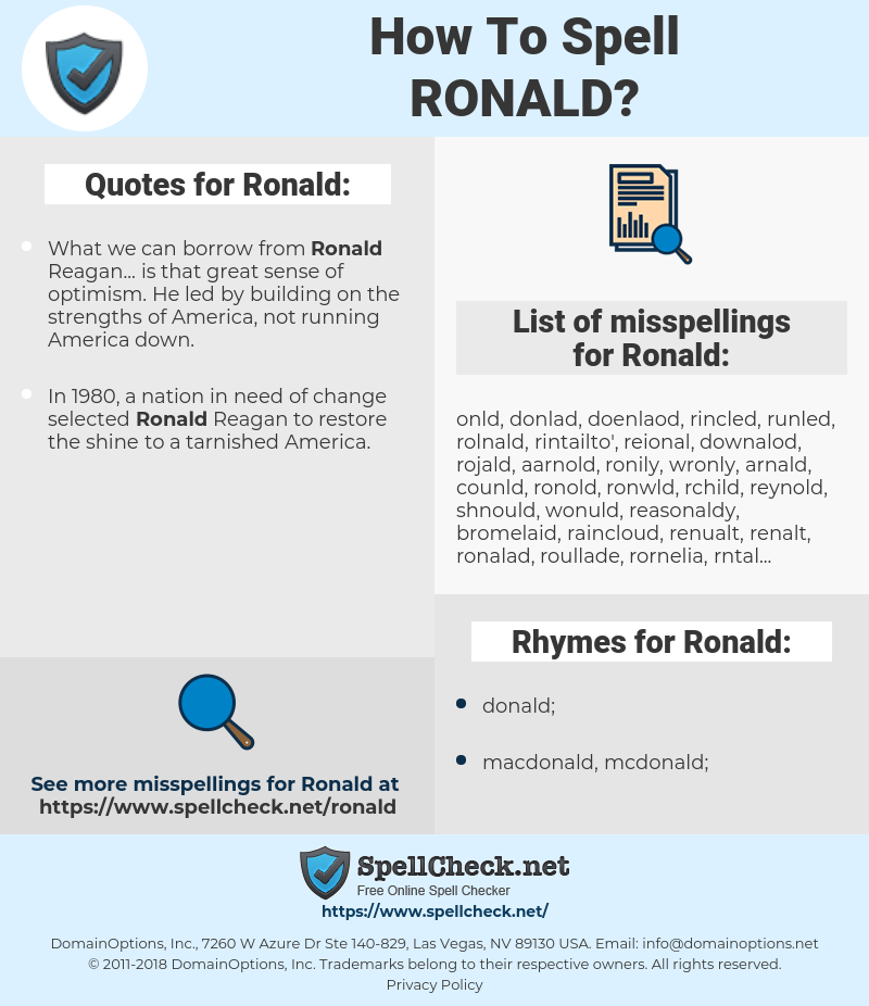 Ronald, spellcheck Ronald, how to spell Ronald, how do you spell Ronald, correct spelling for Ronald