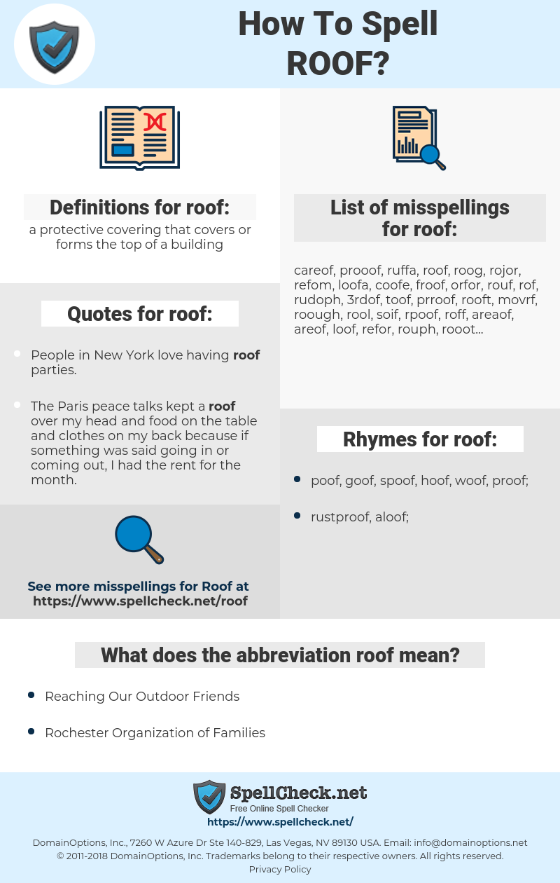 roof, spellcheck roof, how to spell roof, how do you spell roof, correct spelling for roof