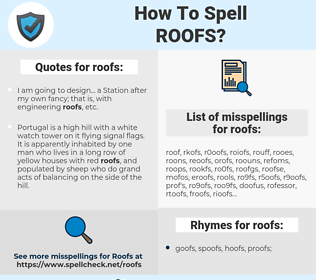 roofs, spellcheck roofs, how to spell roofs, how do you spell roofs, correct spelling for roofs