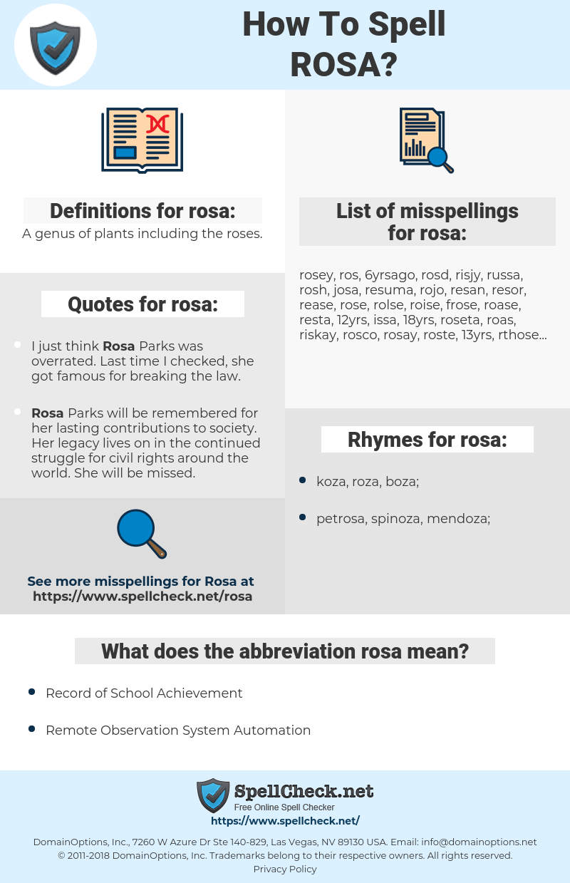 rosa, spellcheck rosa, how to spell rosa, how do you spell rosa, correct spelling for rosa