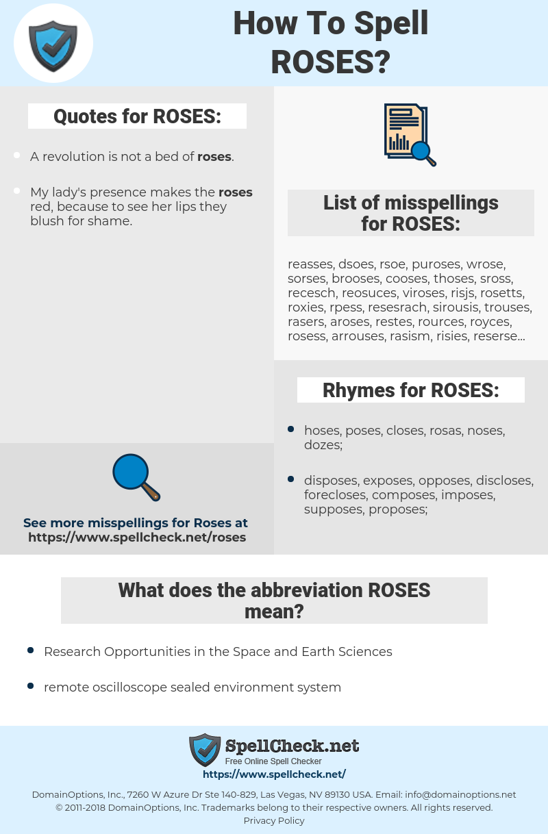 ROSES, spellcheck ROSES, how to spell ROSES, how do you spell ROSES, correct spelling for ROSES