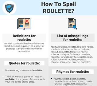 roulette, spellcheck roulette, how to spell roulette, how do you spell roulette, correct spelling for roulette