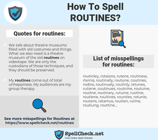 routines, spellcheck routines, how to spell routines, how do you spell routines, correct spelling for routines