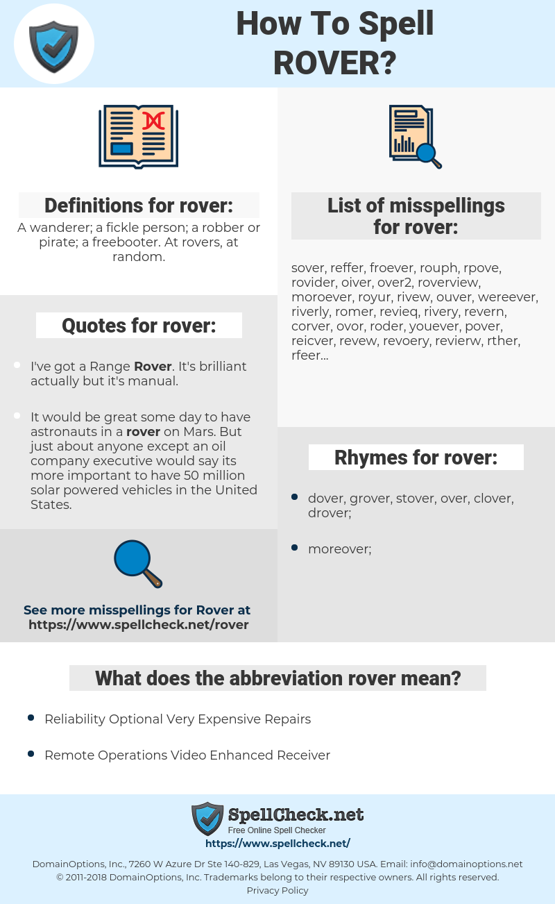 rover, spellcheck rover, how to spell rover, how do you spell rover, correct spelling for rover