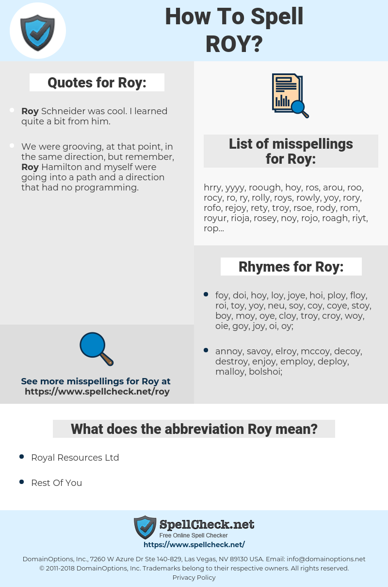 Roy, spellcheck Roy, how to spell Roy, how do you spell Roy, correct spelling for Roy