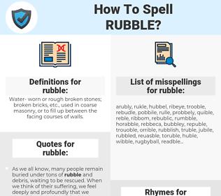 rubble, spellcheck rubble, how to spell rubble, how do you spell rubble, correct spelling for rubble