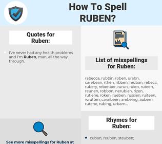 Ruben, spellcheck Ruben, how to spell Ruben, how do you spell Ruben, correct spelling for Ruben