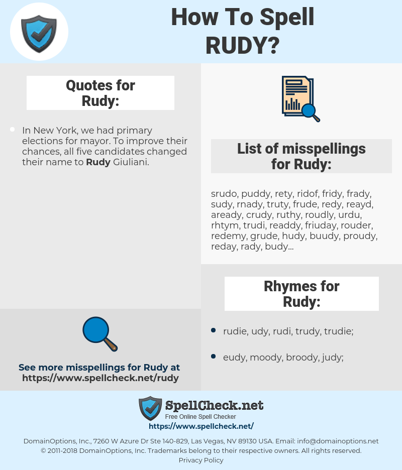 Rudy, spellcheck Rudy, how to spell Rudy, how do you spell Rudy, correct spelling for Rudy
