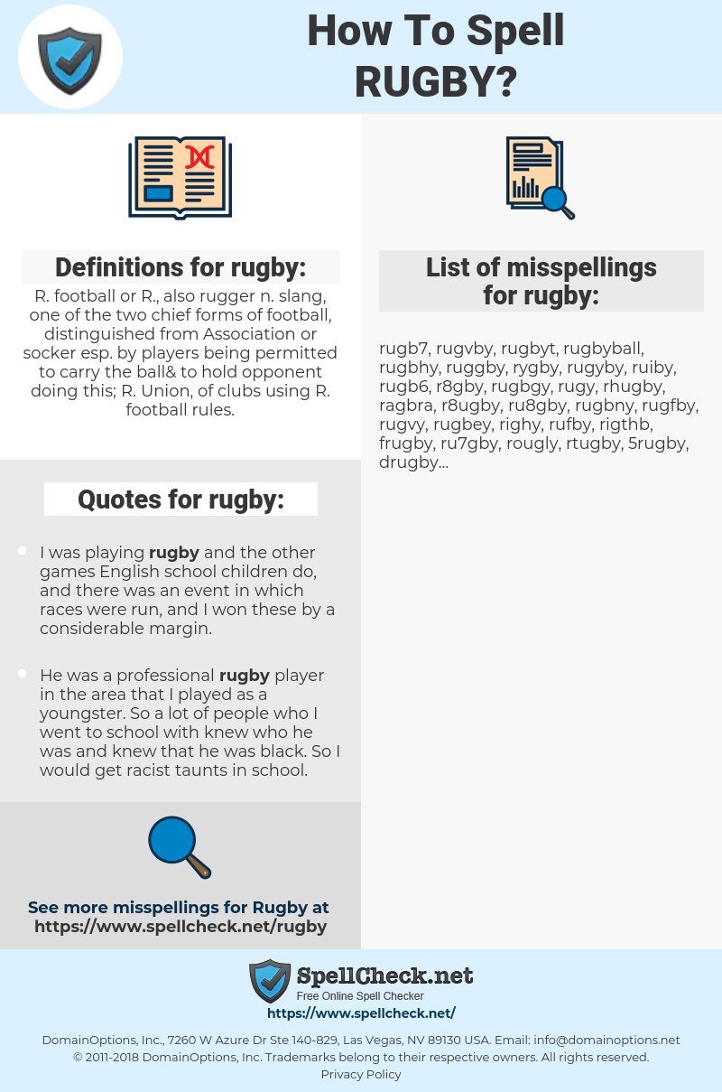 rugby, spellcheck rugby, how to spell rugby, how do you spell rugby, correct spelling for rugby