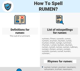 rumen, spellcheck rumen, how to spell rumen, how do you spell rumen, correct spelling for rumen