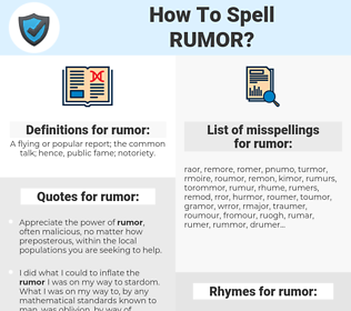 rumor, spellcheck rumor, how to spell rumor, how do you spell rumor, correct spelling for rumor