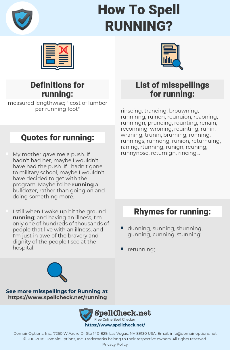 running, spellcheck running, how to spell running, how do you spell running, correct spelling for running