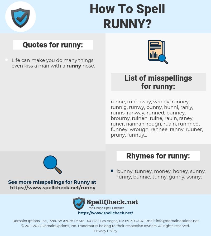 runny, spellcheck runny, how to spell runny, how do you spell runny, correct spelling for runny