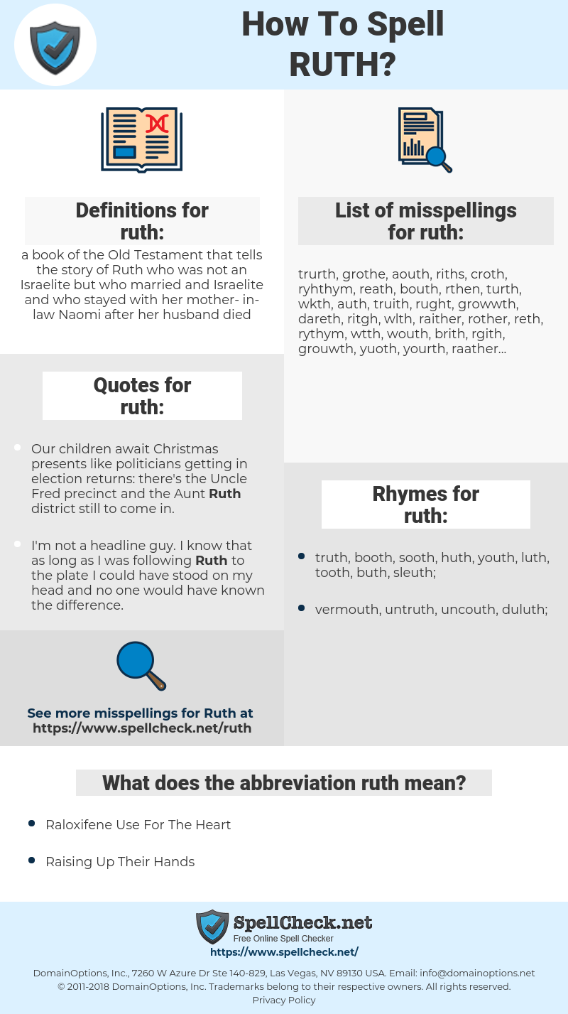ruth, spellcheck ruth, how to spell ruth, how do you spell ruth, correct spelling for ruth