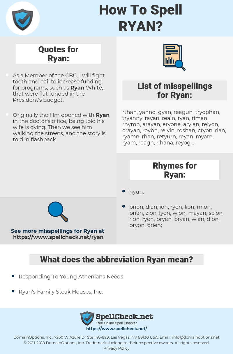 Ryan, spellcheck Ryan, how to spell Ryan, how do you spell Ryan, correct spelling for Ryan