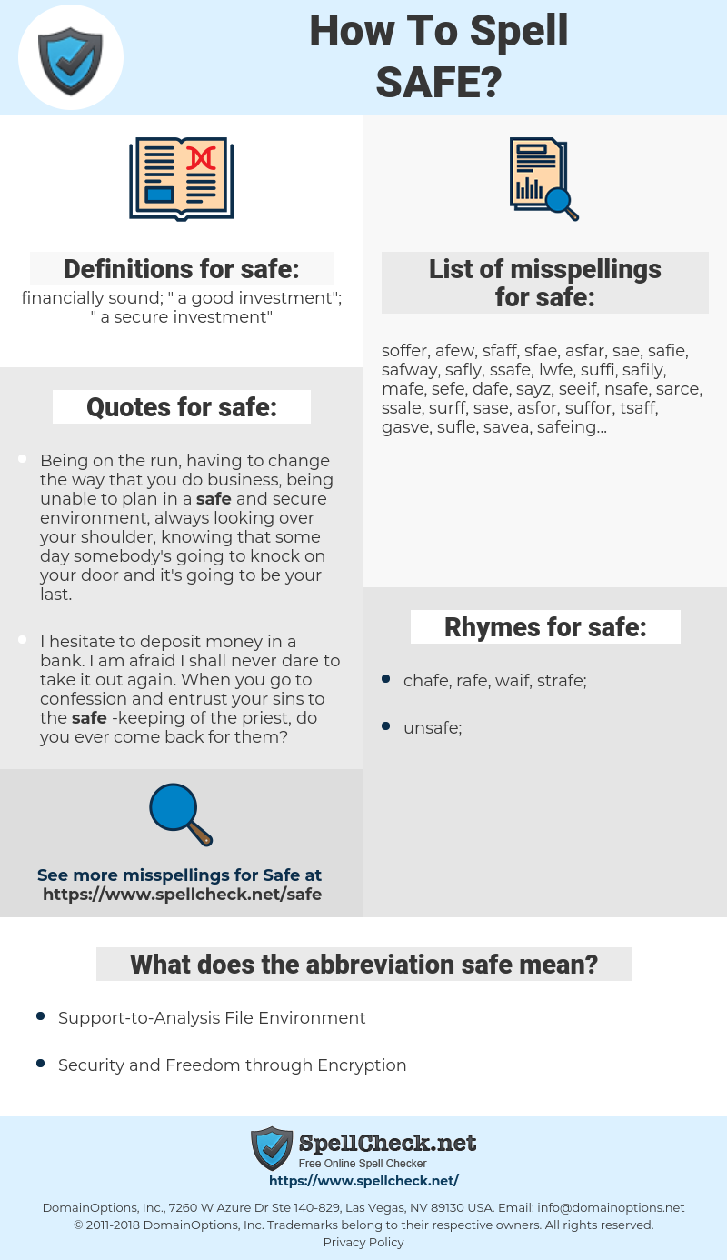 safe, spellcheck safe, how to spell safe, how do you spell safe, correct spelling for safe