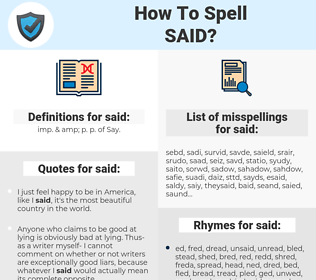 said, spellcheck said, how to spell said, how do you spell said, correct spelling for said