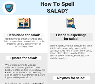 salad, spellcheck salad, how to spell salad, how do you spell salad, correct spelling for salad