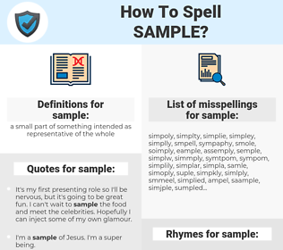 sample, spellcheck sample, how to spell sample, how do you spell sample, correct spelling for sample