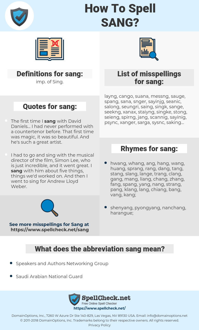 sang, spellcheck sang, how to spell sang, how do you spell sang, correct spelling for sang