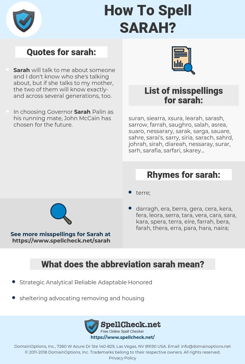 sarah, spellcheck sarah, how to spell sarah, how do you spell sarah, correct spelling for sarah