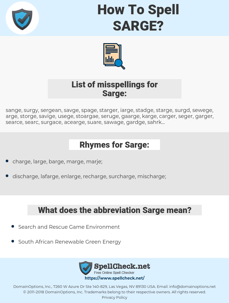 Sarge, spellcheck Sarge, how to spell Sarge, how do you spell Sarge, correct spelling for Sarge
