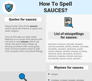 sauces, spellcheck sauces, how to spell sauces, how do you spell sauces, correct spelling for sauces