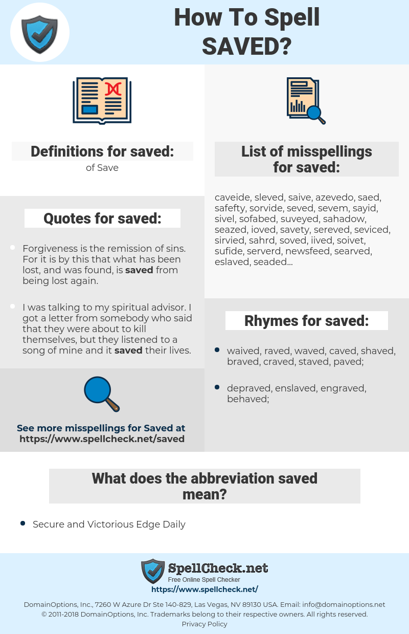 saved, spellcheck saved, how to spell saved, how do you spell saved, correct spelling for saved