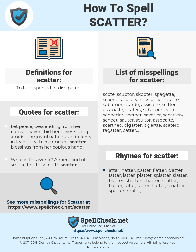scatter, spellcheck scatter, how to spell scatter, how do you spell scatter, correct spelling for scatter
