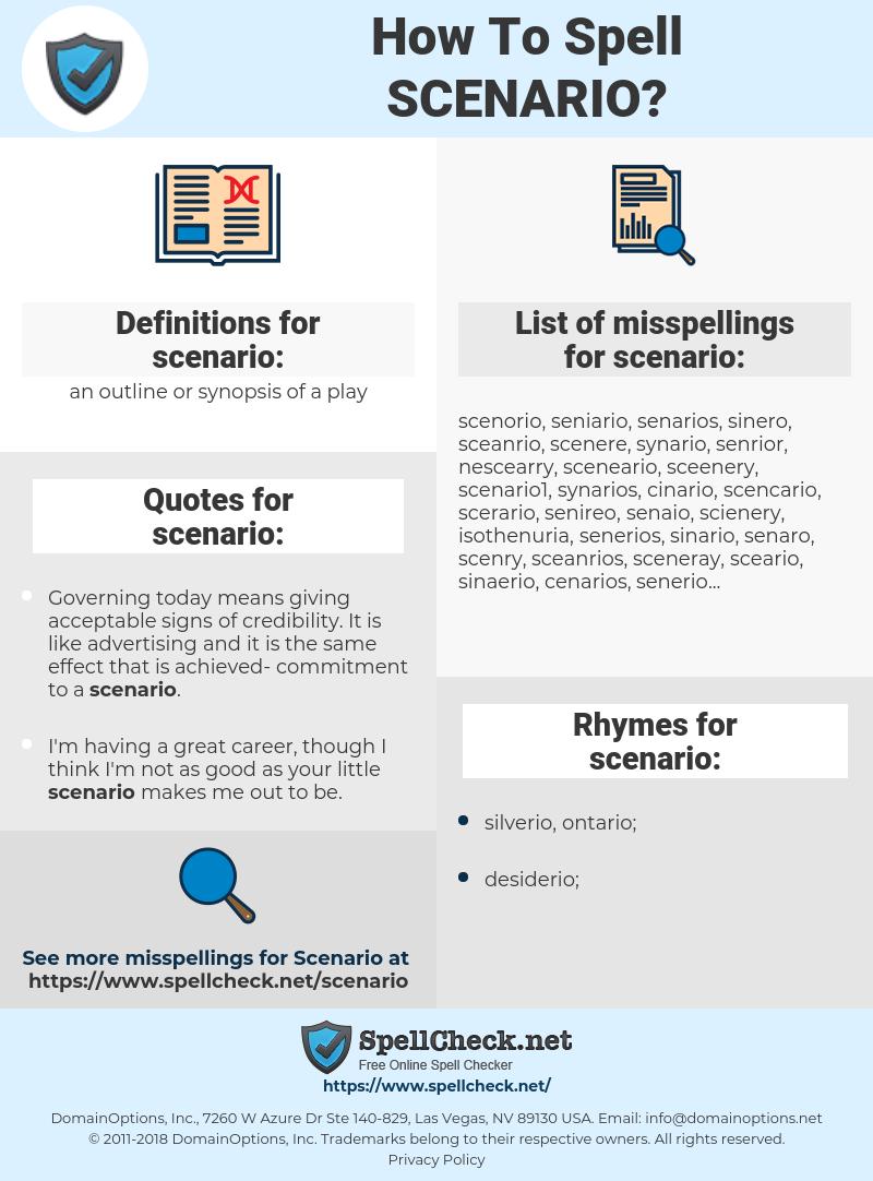 scenario, spellcheck scenario, how to spell scenario, how do you spell scenario, correct spelling for scenario