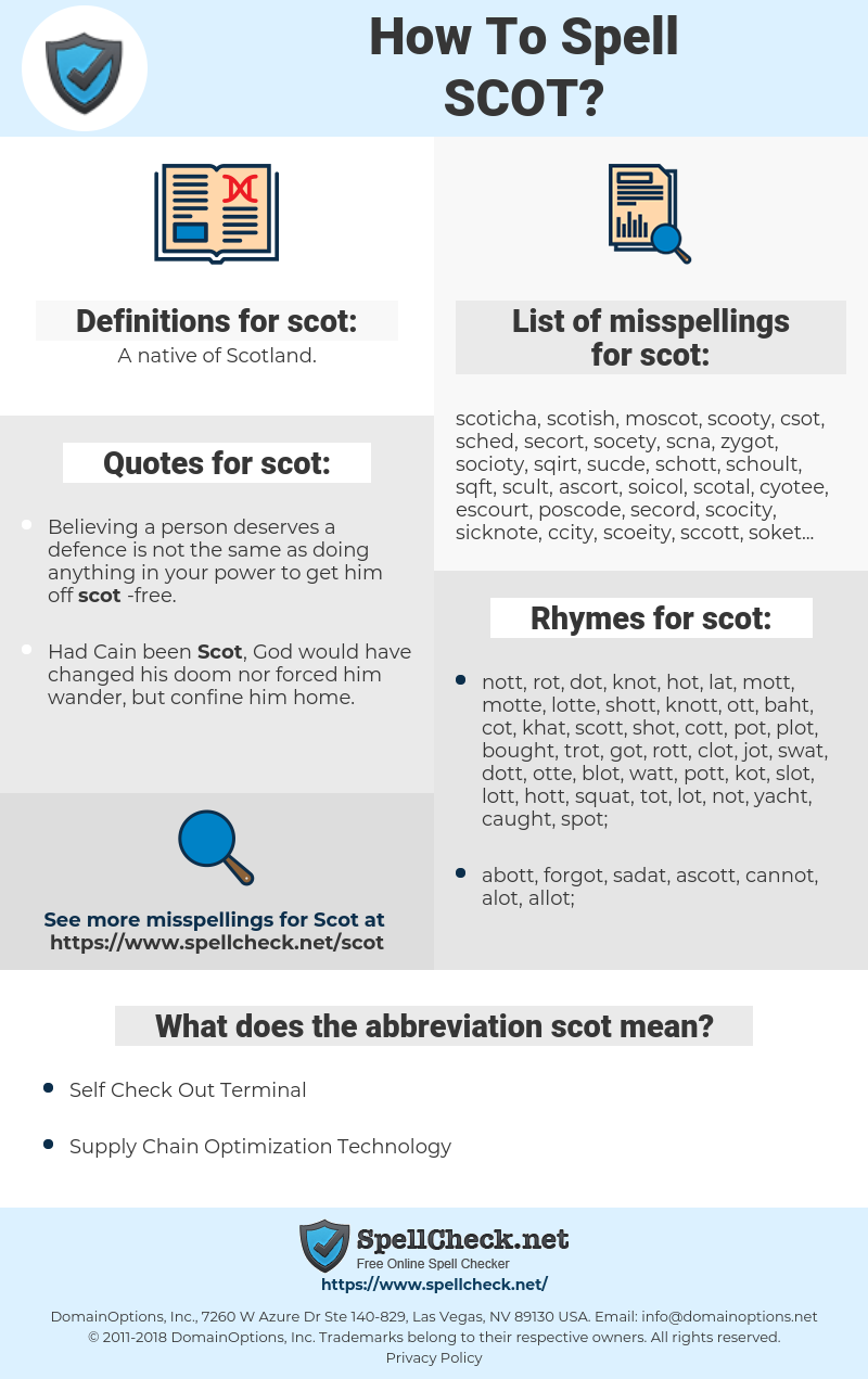 scot, spellcheck scot, how to spell scot, how do you spell scot, correct spelling for scot