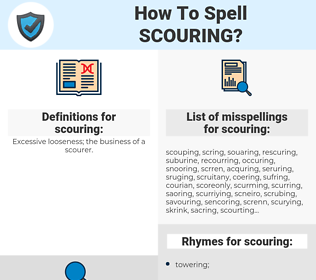scouring, spellcheck scouring, how to spell scouring, how do you spell scouring, correct spelling for scouring